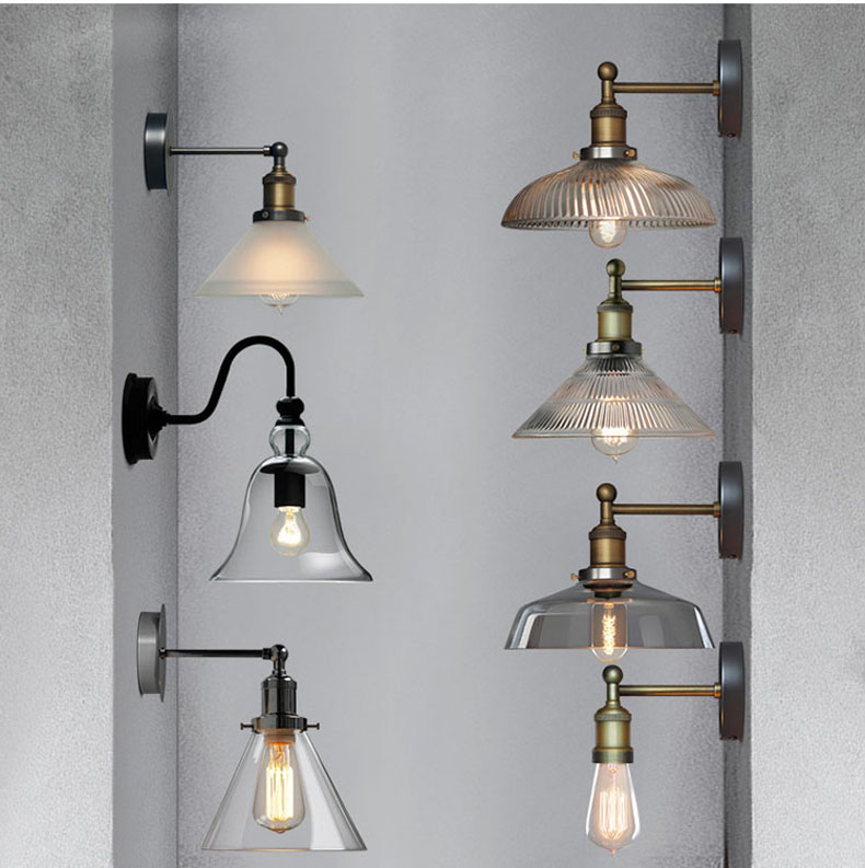 Phube Lighting Vintage Glass Wall Lamp Sconce Wall Light Bedside Wall Lamp Bar Restaurant Wall Lighting Included LED Edison Bulb willlustr fabric wall lamp beige cloth light europe bronze lighting fixture bedside claridge double sconce with linen shade