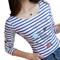 New Casual striped t-shirt women Plus Size Cartoon female T-shirt Slim Long Sleeve shirts women kawaii tops korean women's shirt