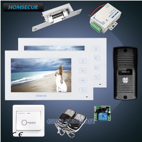 HOMSECUR 7 Wired Video&Audio Home Intercom with Metal Case Camera+Strike Lock 1v2 ...
