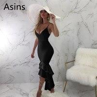 Asins Party dress 2019 summer new hot women casual fashion v neck sling open back high waist sexy irregular mermaid dresses