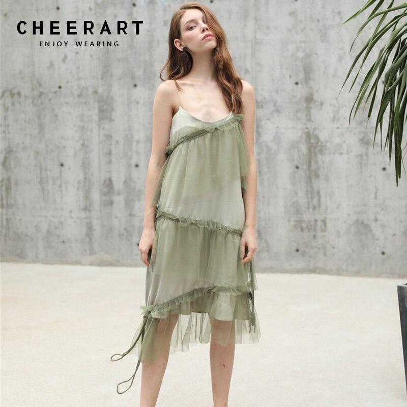 Cheerart vert Spaghetti sangle robe maille à plusieurs niveaux cordon à bretelles robe d'été femmes coupe basse robe d'été plage robes européennes