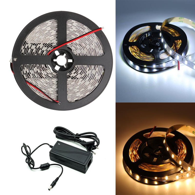 Maidodo 5M 5630 LED Light Strip EU Plug Power Supply Adapter SMD DC 12V Waterproof Fllexible Lamp For Indoors And Out Doors ac 85v 265v to 20 38v 600ma power supply driver adapter for led light lamp