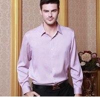 2018 Высококачественная Мужская шелковая рубашка с длинными рукавами Ханчжоу полноценно 100% шелк тутового шелкопряда рубашка в шелковой атла
