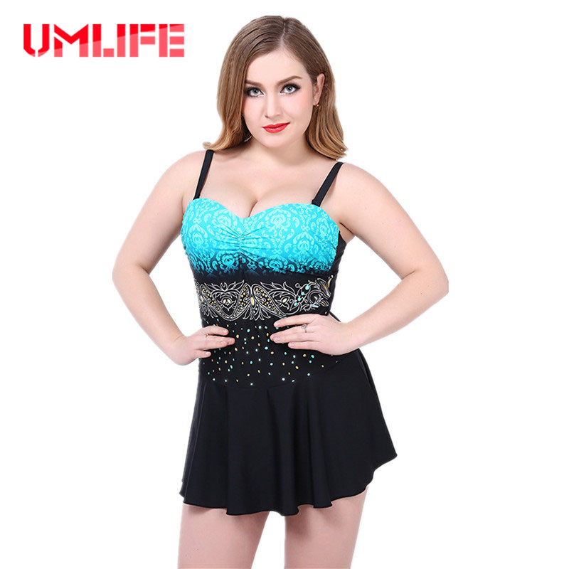 UMLIFE Women Plus Size One Piece Swimsuit Sexy Skirt Swimwear Padded Monokini Womens Push Up Bathing Suits Large Bust Beachwear one piece swimsuit cheap sexy bathing suits may beach girls plus size swimwear 2017 new korean shiny lace halter badpakken