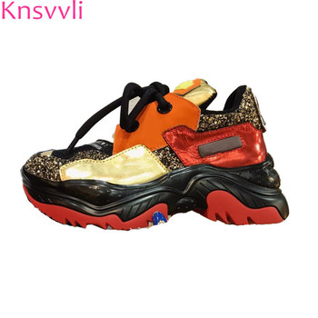 Knsvvli Genuine Leather Height Increasing Casual Shoes Women Rouned Toe Sequins Mixed color Platform Shoes Ladies Sneakers