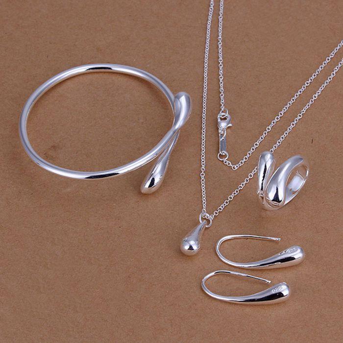 925 Jewelry Silver Plated Jewelry Set, Fashion Jewelry Set Droptear Ring Earrings Bracelet Necklace 925-sterling-silver S222