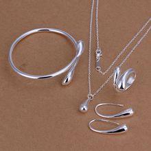 925 jewelry silver plated jewelry set fashion jewelry set Droptear Ring Earrings Bracelet Necklace 925 sterling