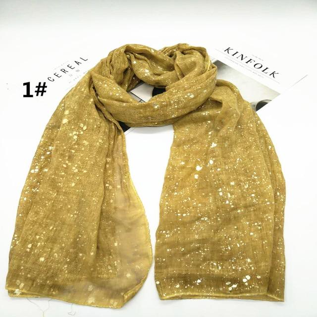 Haute Qualité couleur unie paillettes écharpe foulards châles femmes  Musulman hijab foulard en soie bandana c13991a5def