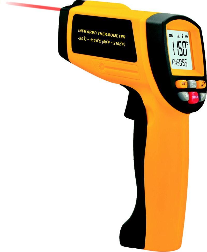 20:1 Infrared Thermometer 1150C or 2102F Professional Non-contact Industrial Pyrometer IR Temperature Meter 0.1~1EM GM1150 tasi 8606 infrared thermometer 32 380 degrees infrared thermometer non contact thermometer industrial and household