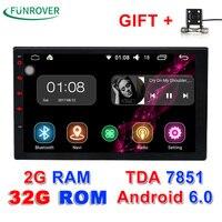 2 г + 32 г авто Радио 2 DIN Android 6.0 Автомобильный Радио dvd-плеер Универсальный 4 ядра 7