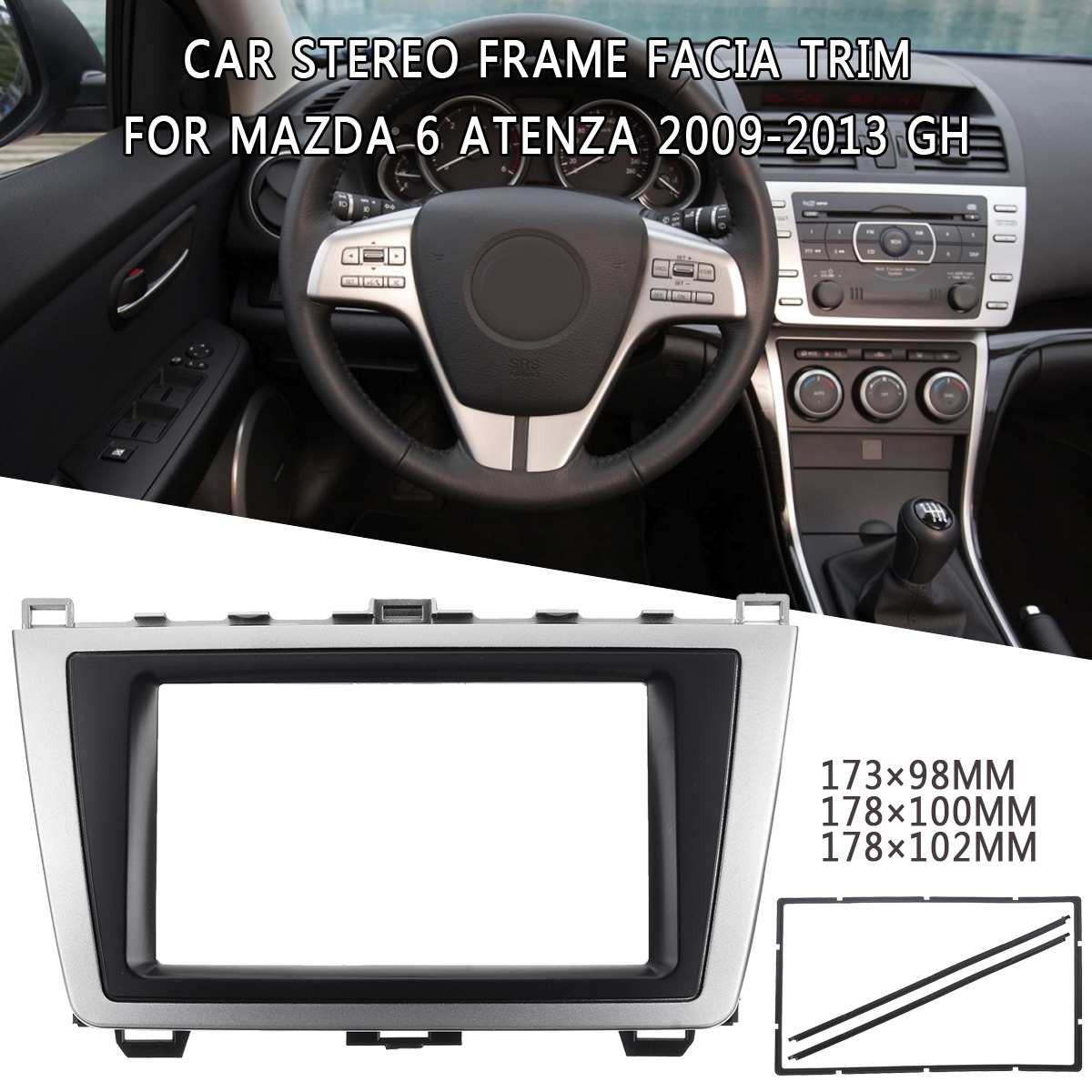 2DIN Car DVD Stereo Panel Radio Fascia for <font><b>Mazda</b></font> <font><b>6</b></font> Atenza 2009 <font><b>2010</b></font> 2011 2012 2013 Dash Mount Plastic Metal Frame UV Silver Blac image