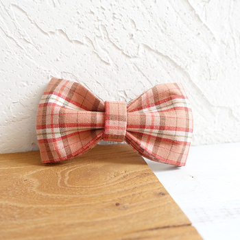 plaid collars leash with tie pet supplies dog bow puppy