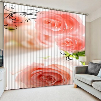 flower curtains photo Blackout Window Drapes Luxury 3D Curtains For Living room Bed room Office Hotel rose curtains