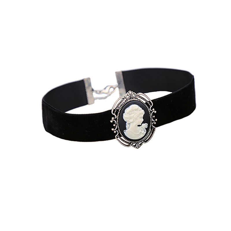 f585979dff942 Womens Necklace Gothic Victorian Lady Head Cameo Silver Vintage Retro Drop  Pendant Black Velvet Ribbon Choker Chunky Collar