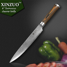 XINZUO HIGH QUALITY 8″ Inch Japanese VG10 Damascus steel kitchen knives chef knives cleaver knife with wood handle free shipping