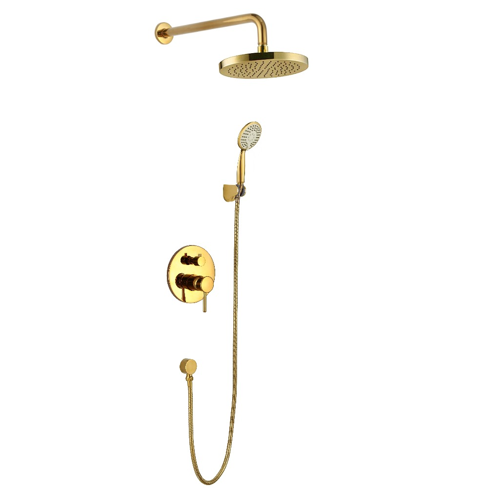 Wall mounted gold PVD finish Rainfall shower bath tub faucet mixer tap Cold and hot water mixing valve shower set