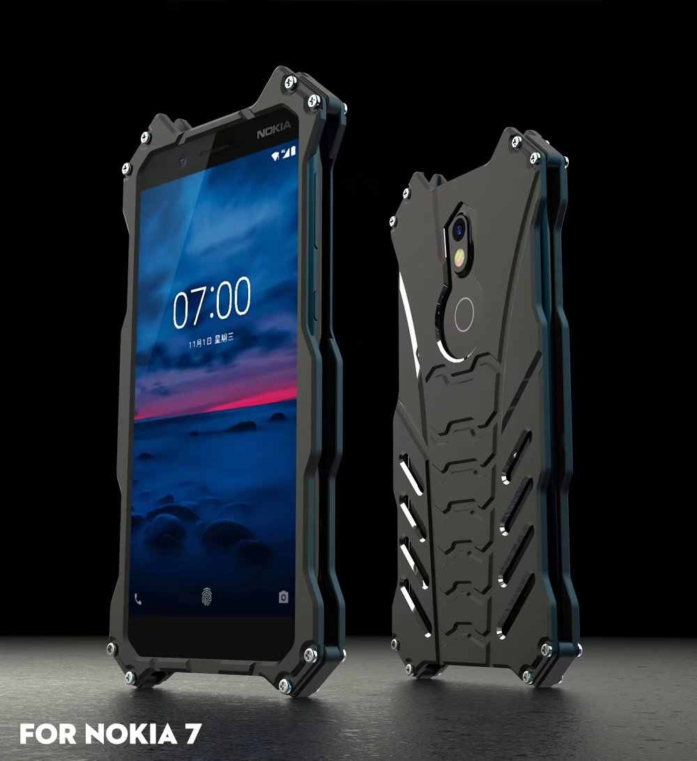 R-JUST para nokia 7 armadura heavy dust metal alumínio cnc batman escudo do telefone capa para nokia 7 plus/x5 2018 5.1 mais coque