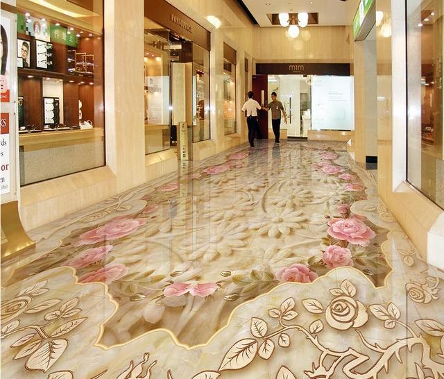 Papier Peint Pour Salle De Bain Imperméable Marbre Texture Parquet 3D Sol  Pvc Auto Adhésif