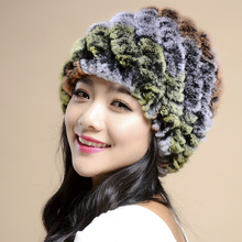 Fashion Style Genuine Knitted Rex Rabbit Fur Hat Natural Rabbit Fur Caps Fashion Women Beanies Headgear Various ColorsTM2