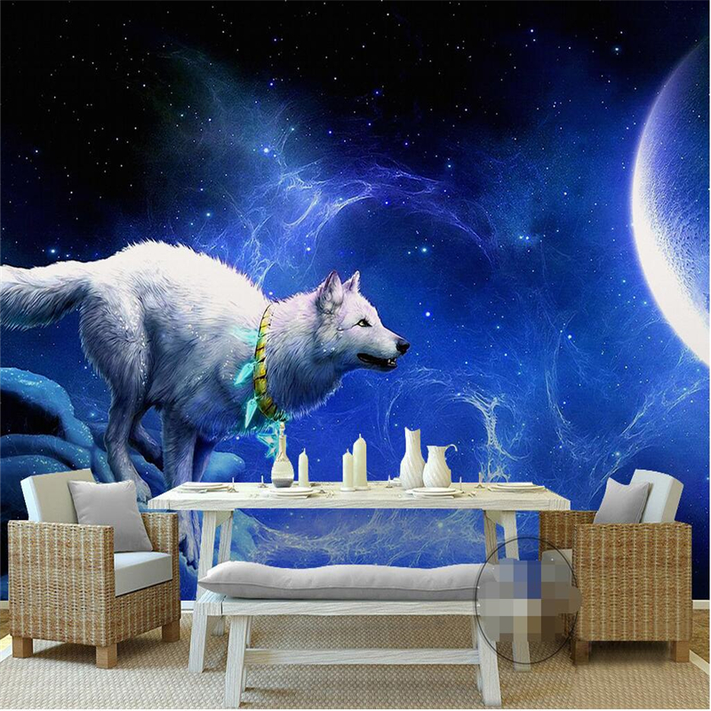 beibehang for walls 3d White Wolf Moon Star TV Background Europe Art Mural for Living Room Large wall papers home decor flooring