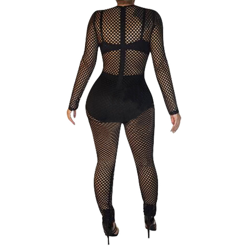 77fbb8067d0 Sexy Black Sheer Mesh Jumpsuit Romper Women Hollow Out Long Sleeve Pearls  See Through Clubwear Party Bodycon Jumpsuits Overalls-in Jumpsuits from  Women s ...