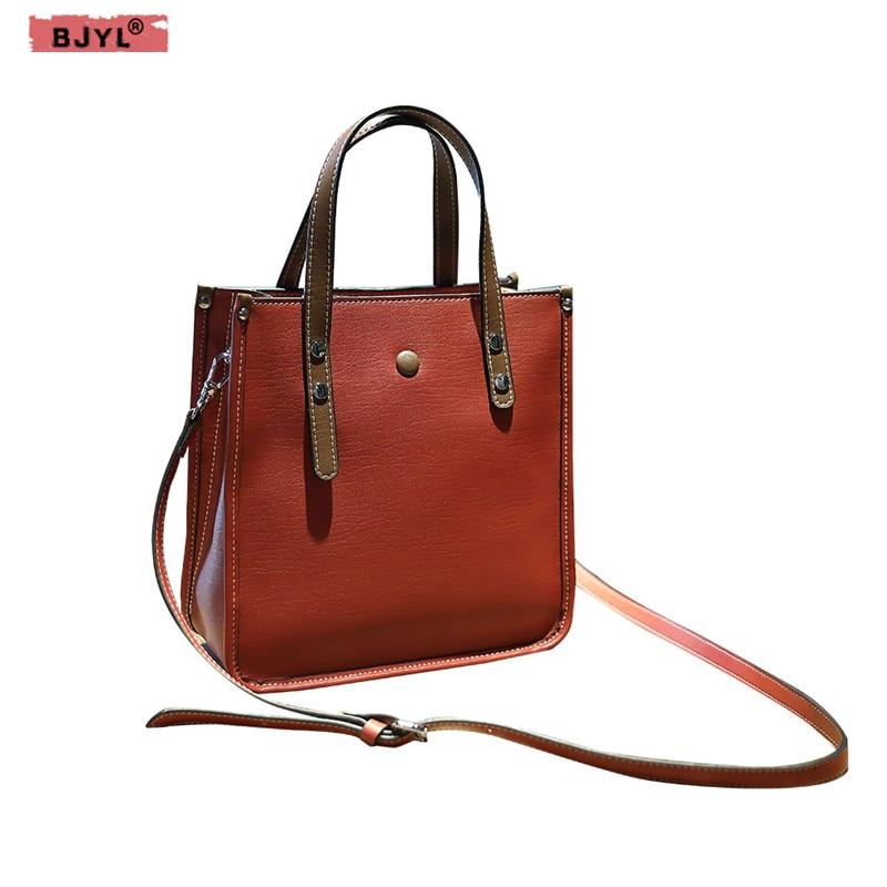 BJYL New fashion Genuine leather Women handbag Tote bag contrast color shoulder bag female Messenger crossbody bags цена 2017