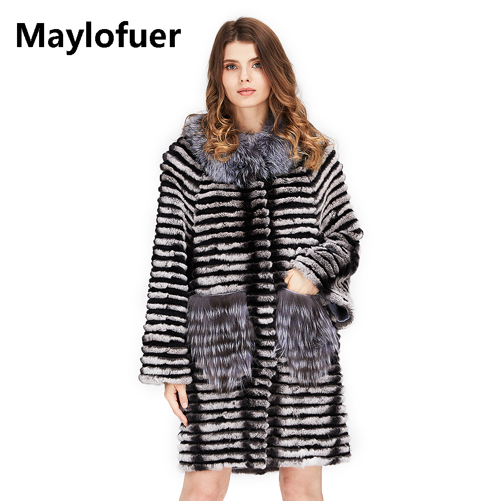Maylofuer Real Rex Rabbit Fur Chinchilla Color Fox Fur Coat Women Fur Natural Silver Fox Fur