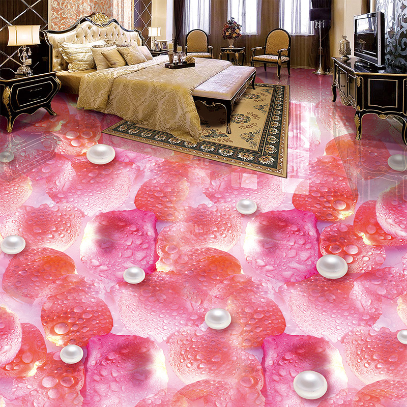 Custom Photo Mural Wallpaper Petals Pearls Water Drops 3D PVC Floor ...