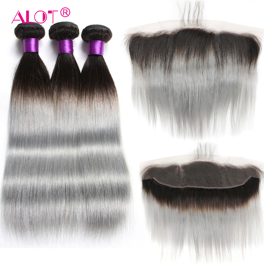 T1B Grey Brazilian Straight Ombre Human Bundles With Lace Frontal 6 Colors Available Human Hair Weaving With Ear To Ear Frontal