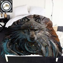 Wolf Warrior by SunimaArt Duvet Cover Wild Animal Bedspreads 1-Piece Wolf With Dreamcatcher 220x240cm Quilt Bed Cover(China)