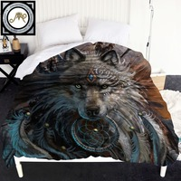 Wolf Warrior by SunimaArt Duvet Cover Wild Animal Bedspreads 1 Piece Wolf With Dreamcatcher 220x240cm Quilt Bed Cover