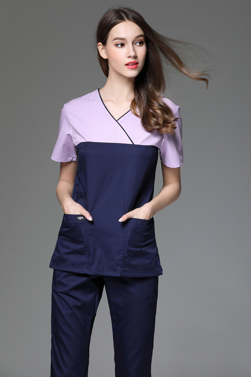 2017 Women's V Neck Short Sleeve Surgical Or Medical Scrub Clothes Sets Uniforms New Fancy Design Medical Scrub Uniforms