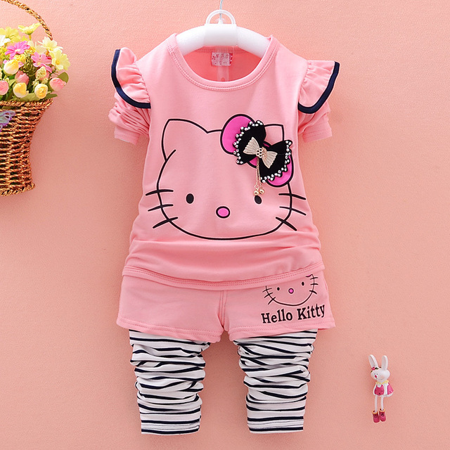 2017 new girls spring sets cotton children's cartoon KT cat long-sleeved T-shirts+pants two sets