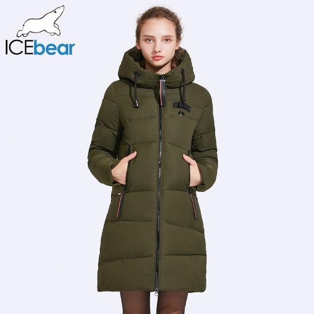ICEbear 2017 Для женщин зимние Куртки и Пальто и пуховики планка молнии тепло и морозостойкость шнурок с капюшоном ветронепроницаемая парка 17G661D