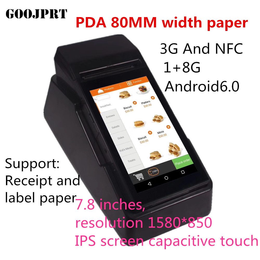 Mobile 80MM POS 3G Wirless Android Handheld PDA With NFC Thermal Printer For Restaurant