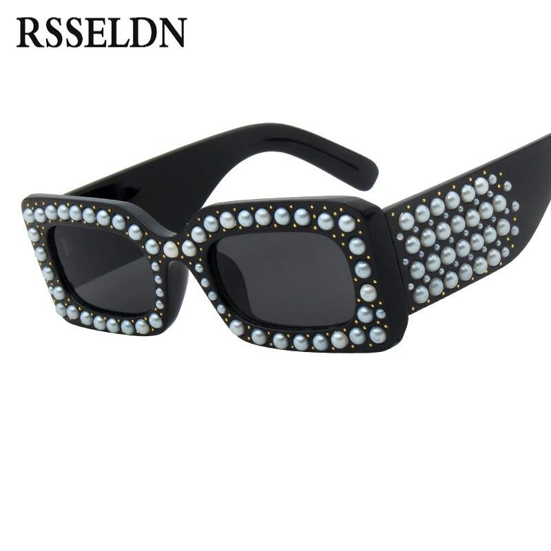 RSSELDN Luxury Pearl Rectangle Sunglasses Women Brand Designer Fashion Black Square Sun glasses for Women 2018 New Female Shades