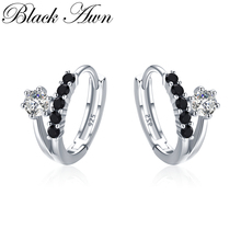 [BLACK AWN] Genuine 3.5g 925 Sterling Silver Earrings Hoop for Women Black Spinel Jewelry I109