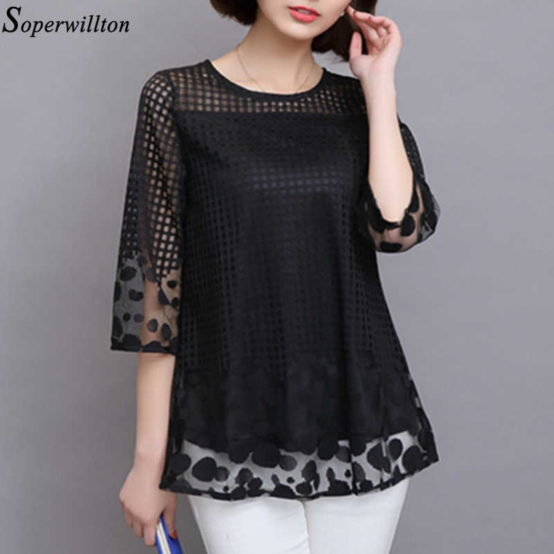 Топы размера плюс 5XL Женская блузка шифоновая рубашка 2019 летняя Кружевная блуза с коротким рукавом Офисная Женская рубашка Blusas Femme одежда H6