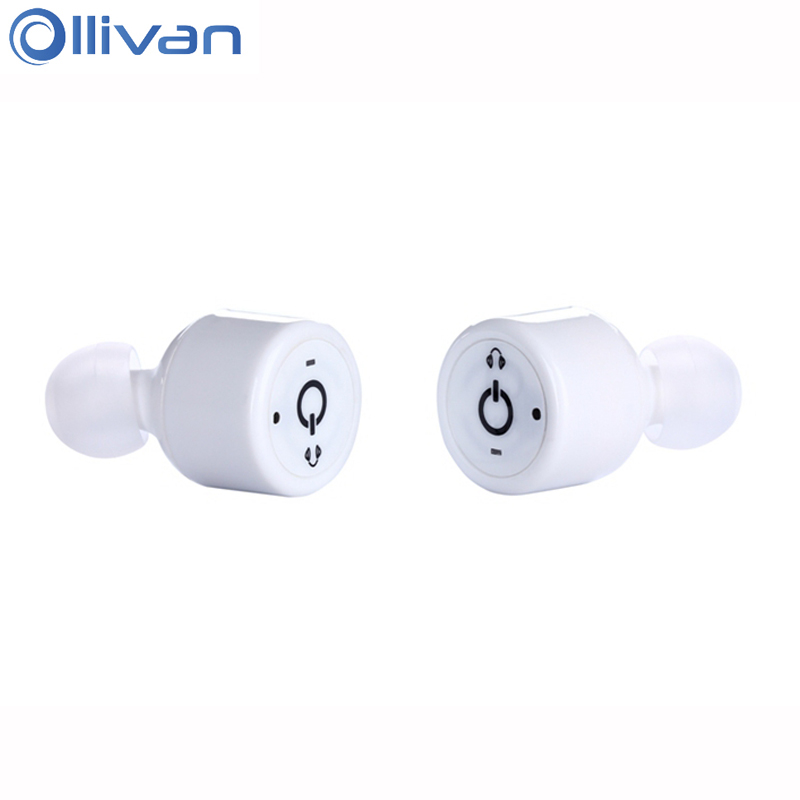 Ollivan X1T Bluetooth Earphone Mini Wireless Headset Twins Sport Earbuds Handsfree Stereo Earphones With Mic In-ear Auriculares portable wireless bluetooth earphone handsfree mini headset stereo earbuds usb docking car charger for iphone smartphone 2 in 1