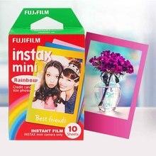 Genuine fujifilm instax mini 8 film rainbow fuji papel fotográfico instantâneo 10 folhas Para 8 7 s 7 50 s 50i 90 25 dw Share SP-1 câmeras