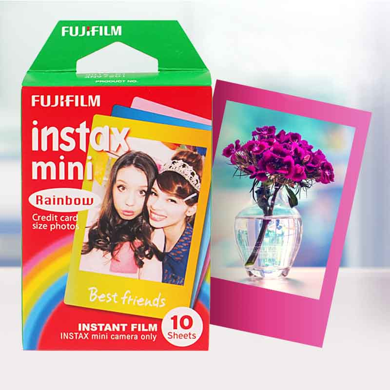 Genuine Fujifilm Instax Mini 8 Film Rainbow Fuji Instant Photo Paper 10 Sheets For 8 7s 7 50s 50i 90 25 dw Share SP-1 Cameras