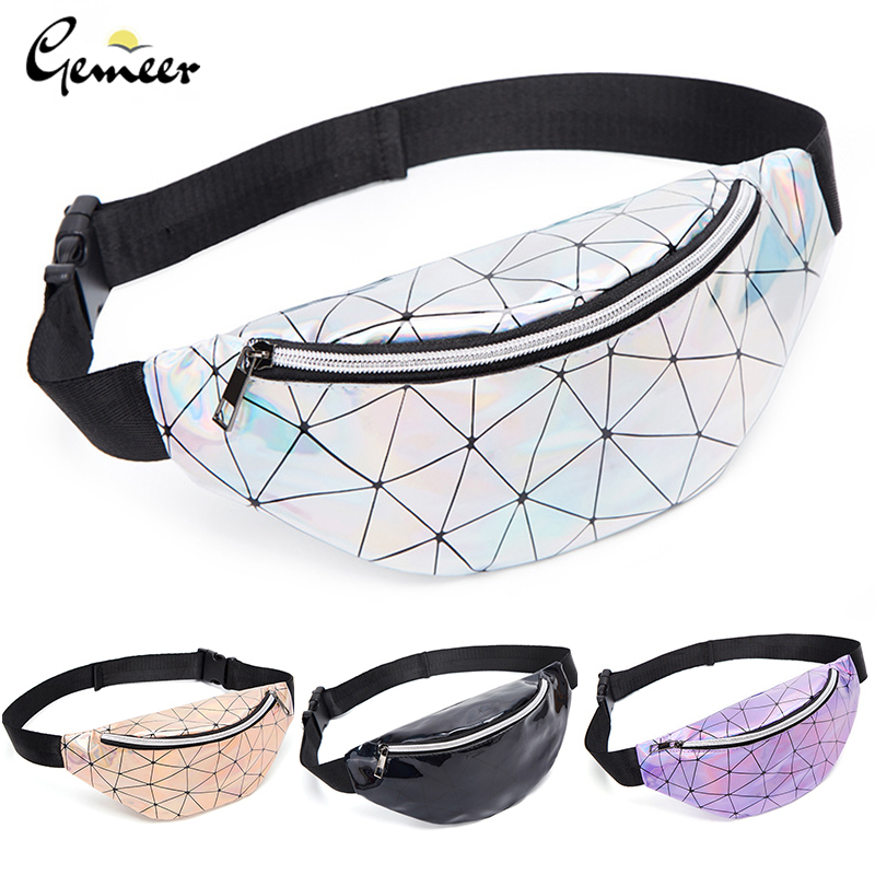 Gemeer Holographic Waist Bags Women Pink Silver Fanny Pack Female Belt Bag Black Geometric Waist Packs Laser Chest Phone Pouch