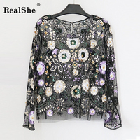 RealShe Women Embroidery Mesh T Shirt Ladies Fashion O Neck Long Sleeve Floral Beading Sequins Tops Ladies Top Tee Shirts