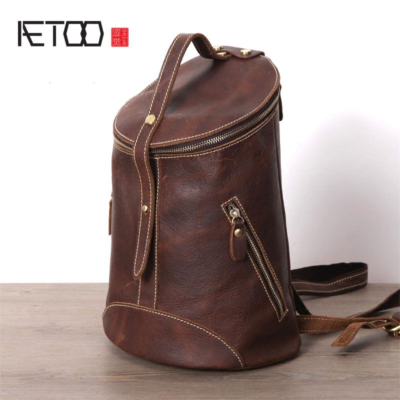 AETOO Original handmade crazy horse fur shoulder bag head layer cowhide art retro bucket bag round pass package male barrel bag