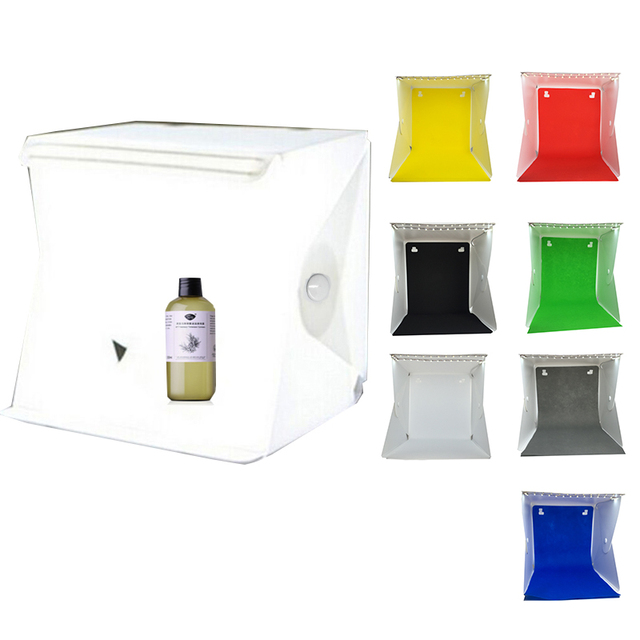 Cool Stuff New Design Fixed by Button 2 LED Line Mini Lightbox Studio Photo Photography Tent Kit with Black White Backgrond USB LED light 1