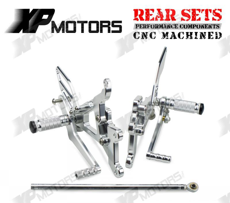 CNC Silver  Racing Adjustable Foot pegs Rearset Rear Sets For Yamaha YZFR6 YZF R6 2003 2004 2005 R6S 2006 2007 2008 2009 free shipping motorcycle parts silver cnc rearsets foot pegs rear set for yamaha yzf r6 2006 2010 2007 2008 motorcycle foot pegs