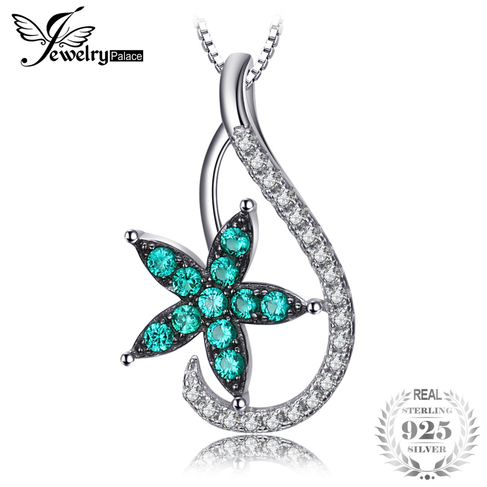 Lucky Star 0.3ct Nano Russian Simulated Emerald Women Pendant 925 Sterling Silver Fine Jewelry Not Include a Chain