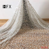 HFX African Fabric Lace White Embroidered Handmade Beaded French Lace Fabric 2019 High Quality Wedding Dress Fabric X1756