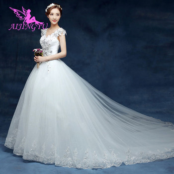 AIJINGYU 2018 elegant free shipping new hot selling cheap ball gown lace up back formal bride dresses wedding dress WK440