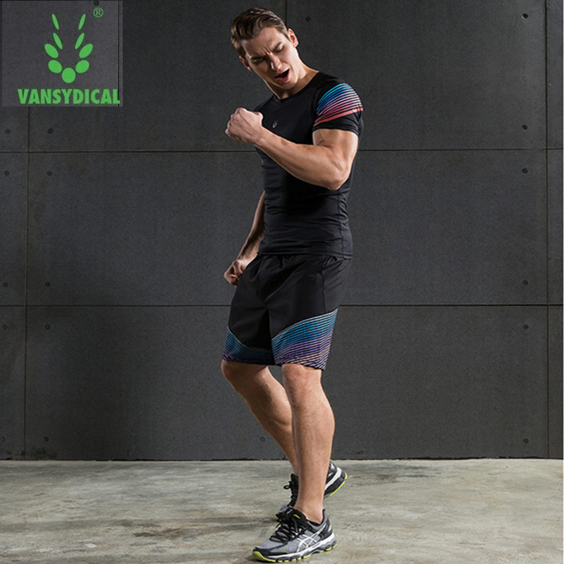 Vansydical Summer Jogging Suits Men's Fitness Sport Suits Quick Dry Basketball Running Shirts+Shorts Sets Gym Sportswear 2pcs 5